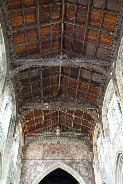 It's known for its carved wooden ceiling and wall paintings
